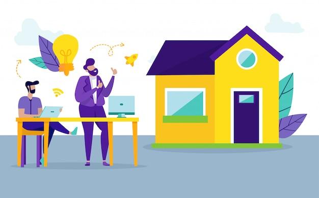Hommes avec ordinateur portable. achat de maison rentable. vecteur.