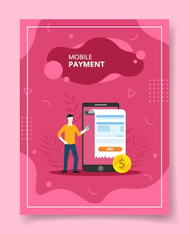 Hommes de paiement mobile près de gros smaertphone sur le paiement de la facture, affiche.