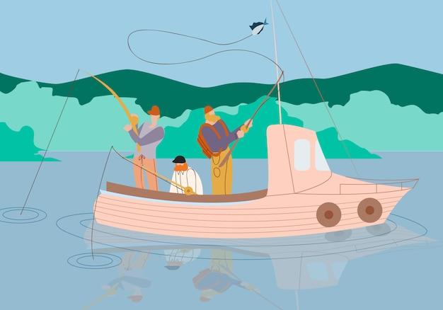 Hommes pêchant en bateau sur un lac ou une rivière calme. été.