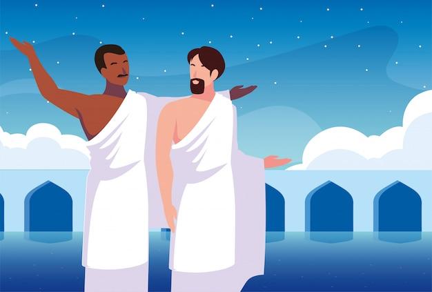 Les hommes pèlerin hajj, jour de dhul hijjah