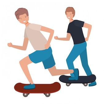 Hommes avec personnage avatar skateboard