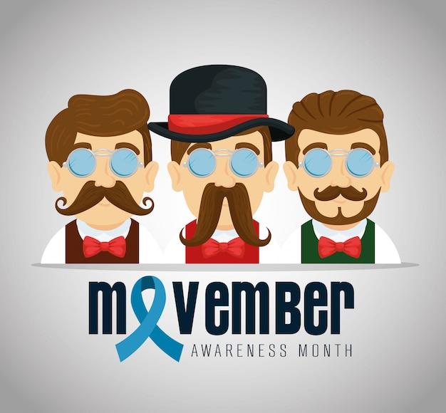 Hommes portant des lunettes avec moustache et ruban bleu