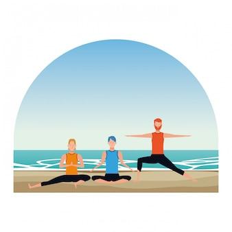 Hommes poses de yoga