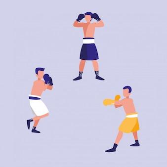 Hommes pratiquant le personnage d'avatar de boxe