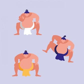 Hommes pratiquant le personnage d'avatar de sumo