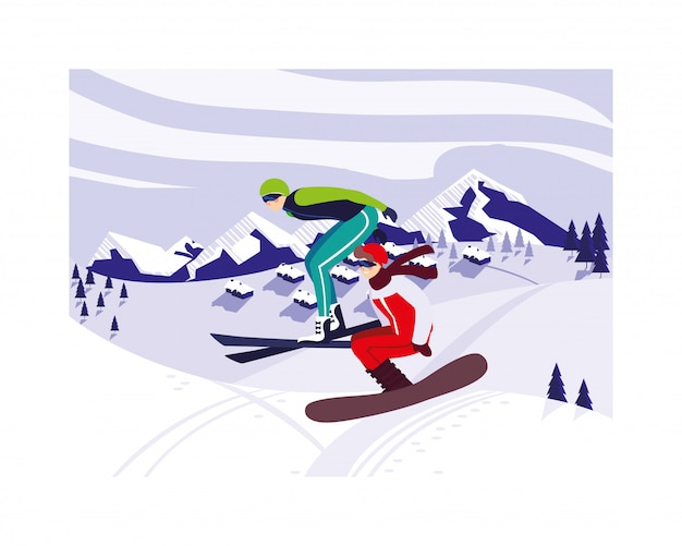 Hommes pratiquant des sports extrêmes d'hiver