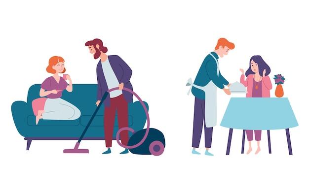 Les hommes prennent soin des femmes et font le ménage. nettoyage de la maison, aspirateur de sol, cuisine. couples familiaux