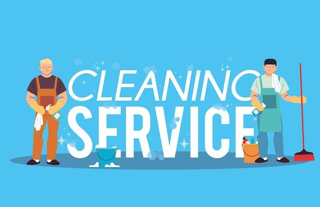 Hommes avec des produits de lavage et de nettoyage desing illustration
