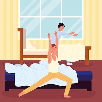 Hommes et routine au lit