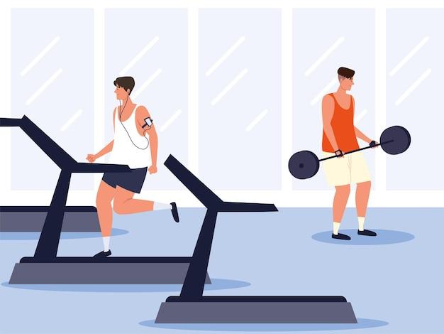 Hommes s'entraînant en salle de sport avec tapis roulant de poids