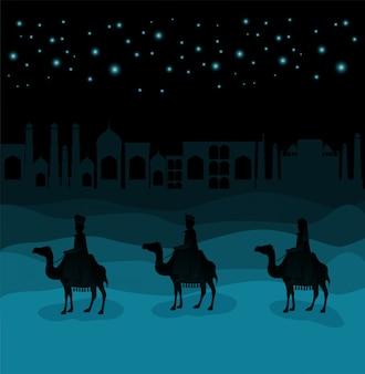 Hommes sages voyageant dans la scène de noël du désert