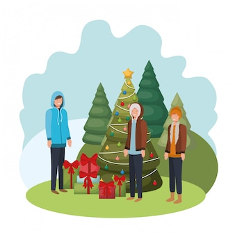 Hommes avec sapin et cadeaux avatar