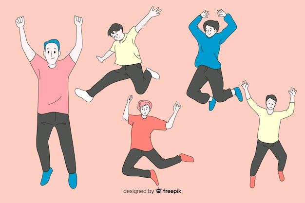 Hommes sautant dans un style de dessin coréen