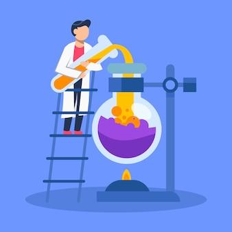 Hommes scientifiques travaillant