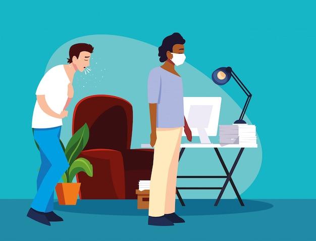 Hommes se sentant malades à la maison vector design