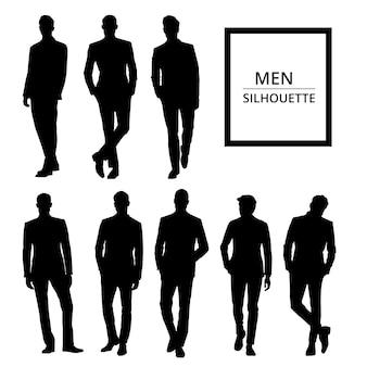 Hommes silhouettes en costume