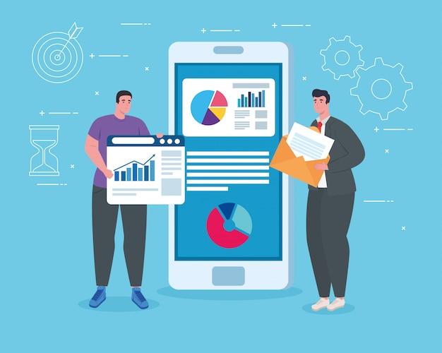 Hommes avec smartphone et site web design vectoriel