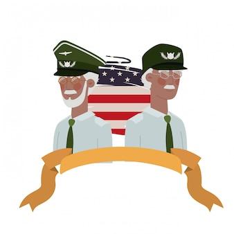 Hommes soldats de guerre avec drapeau des états-unis
