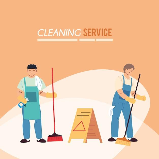 Hommes avec tablier et balais pour illustration de service de nettoyage desing
