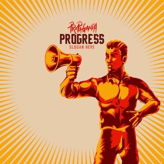 Hommes tenant une illustration de propagande de mégaphone
