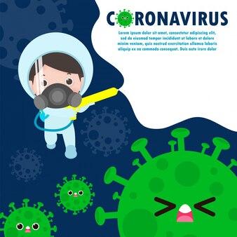 Hommes en tenue de protection contre le coronavirus (covid-19). guérir et combattre le concept de coronavirus illustration isolé sur fond blanc