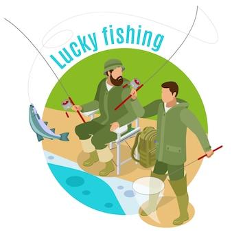 Hommes avec tiges de filature et transport pendant la pêche chanceuse sur rond