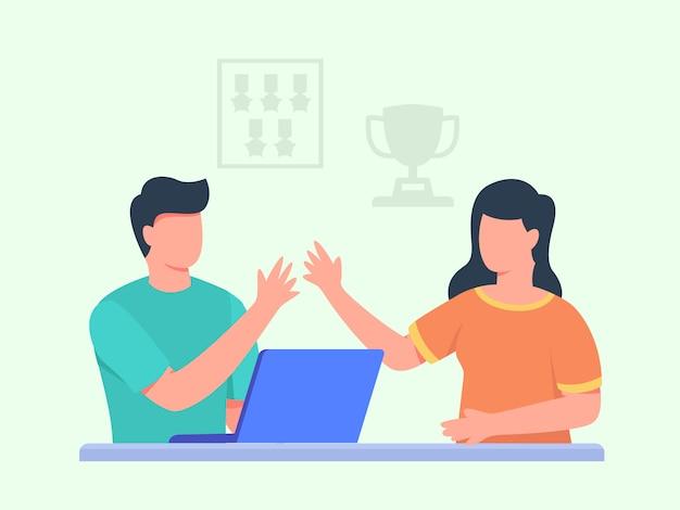 Les hommes travaillent sur un ordinateur portable haut cinq avec des femmes en médaille de trophée de fond avant avec un style cartoon plat.