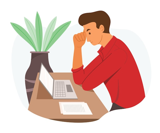 Les hommes travailleurs regardent l'ordinateur portable et réfléchissent