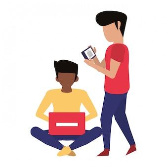 Hommes utilisant des caricatures de technologie