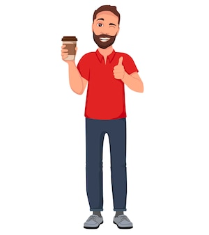Hommes avec un verre de café. illustration de personnage de dessin animé.