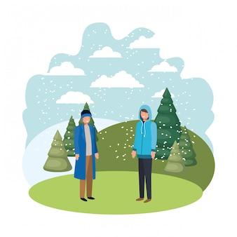 Hommes avec des vêtements d'hiver et des pins d'hiver