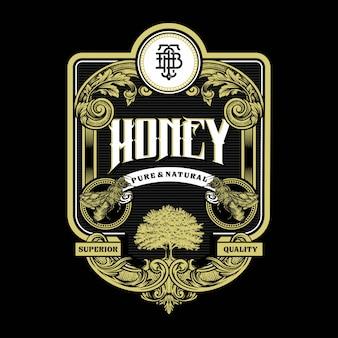 Honey bee illustration étiquette vintage et logo gravure avec ornement rétro au design décoratif antique de style rococo