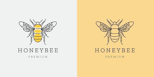 Honey bee mono line logo icon design template flat