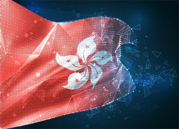 Hong kong, drapeau vectoriel, objet 3d abstrait virtuel à partir de polygones triangulaires sur fond bleu