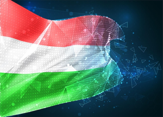 Hongrie, drapeau vectoriel, objet 3d abstrait virtuel à partir de polygones triangulaires sur fond bleu
