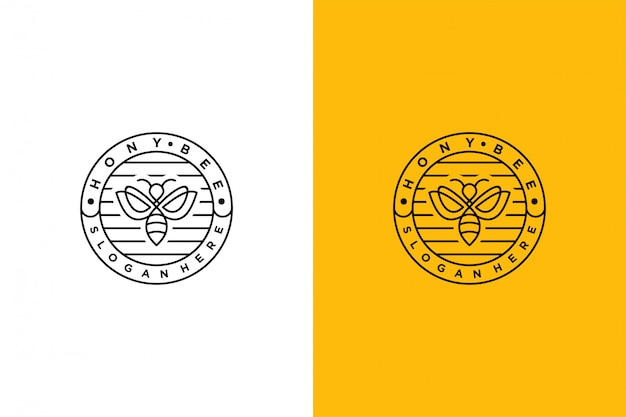 Hony bee logo minimalis emblème vintage