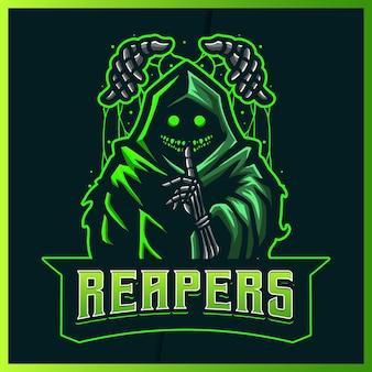 Hood puppet reaper lueur verte couleur esport et création de logo de mascotte de sport