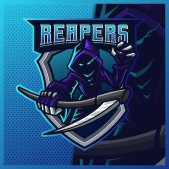 Hood reaper lueur de couleur bleue esport et création de logo de mascotte de sport.