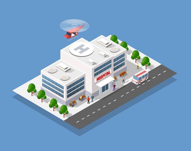 Hôpital 3d isométrique