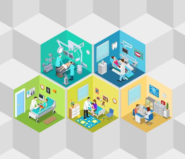 Hôpital, clinique, intérieur, opération, salle, cellules, plat, isométrique
