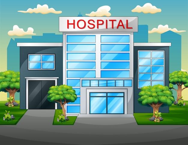 Hôpital, extérieur, clinique moderne, vue