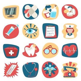 Hôpital médical soins de santé premier secours icônes ensemble isolé illustration vectorielle
