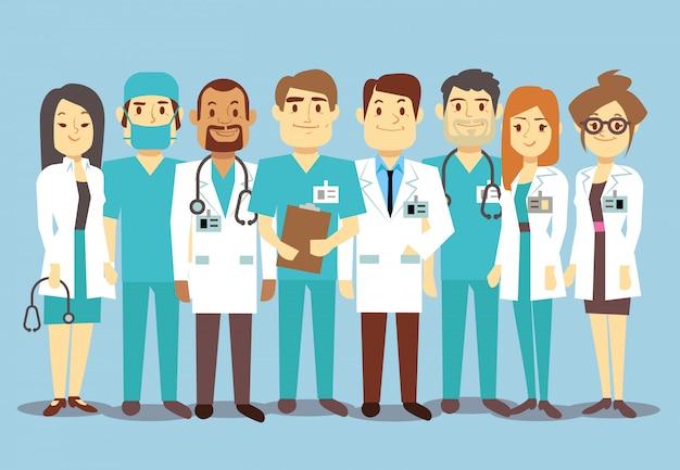 Hôpital personnel médical équipe médecins infirmières chirurgien plat