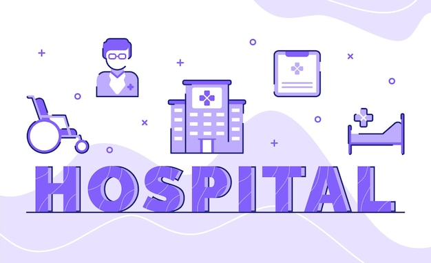 Hôpital, typographie, mot, art, fond, de, icône, fauteuil roulant, docteur, bâtiment, dossier médical, lit, à, contour, style
