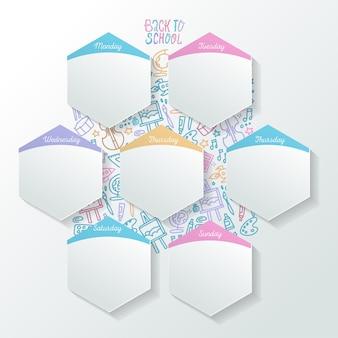 Horaire des activités au jour le jour avec des feuilles réalistes en forme d'hexagone. organisateur de la semaine conceptuelle.