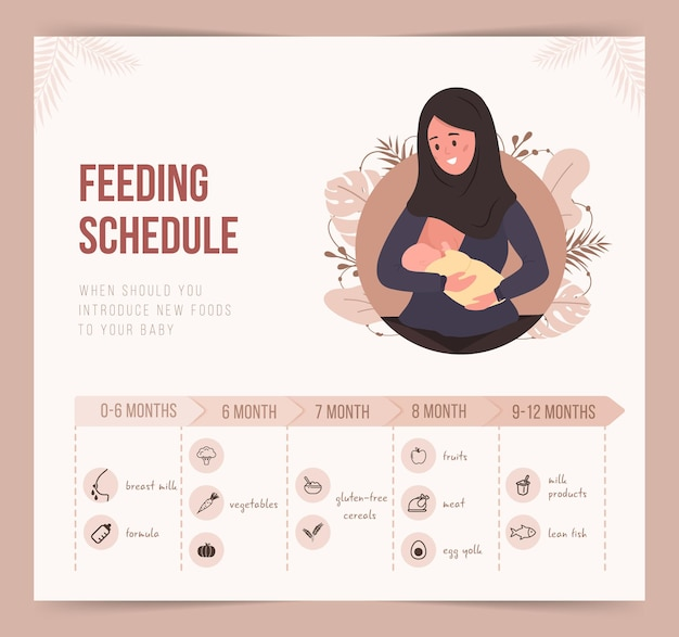 Horaire d'alimentation au cours de la première année de vie. infographie de la nourriture pour bébé.