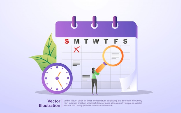 Horaire et concept de planification, création d'un plan d'étude personnel, planification du temps d'affaires, événements et actualités, rappel et calendrier