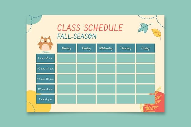 Horaire des cours de la saison d'automne à l'image des enfants