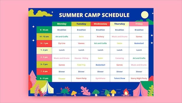 Horaire du camp d'été coloré et créatif
