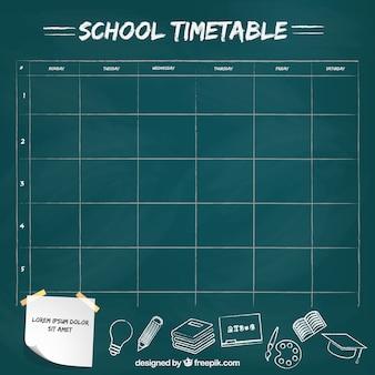 Horaire de l'école belle avec un design plat